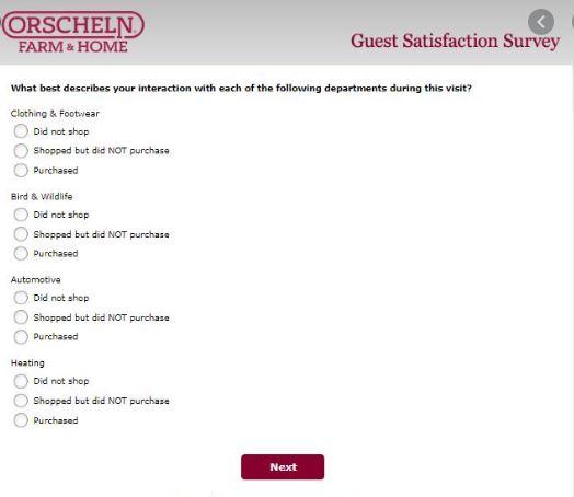 Orscheln Farm Survey question