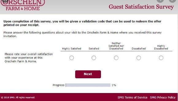 Orscheln Farm Survey rating