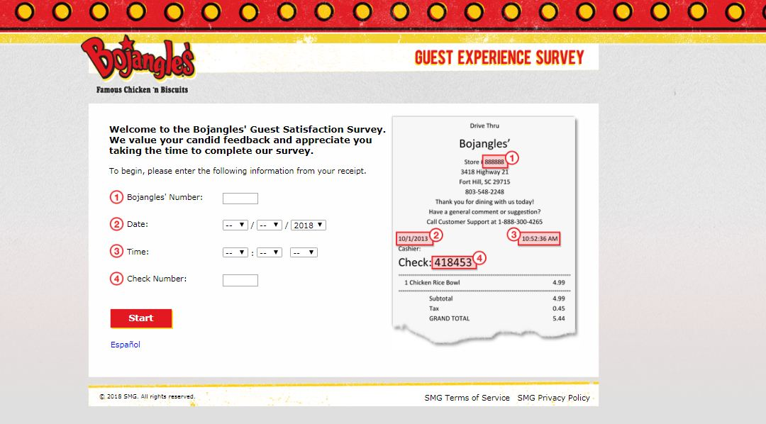 Bojangles Survey guide