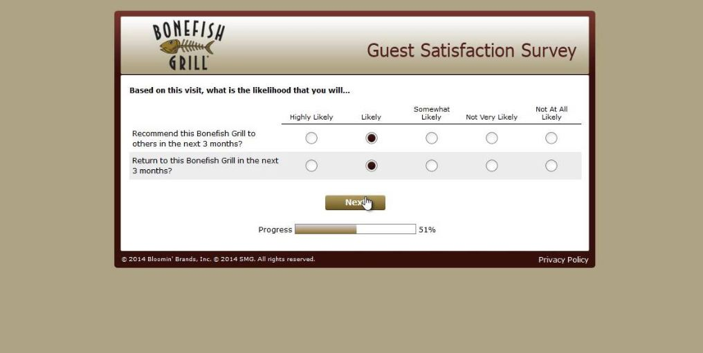 Bonefish Grill survey feedback