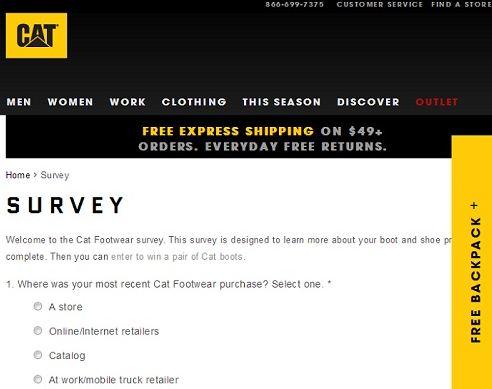 www.Catfootwear.com/Survey