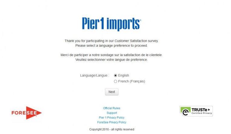Pier 1 Feedback Survey