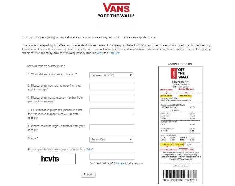 Vans Customer Feedback Survey