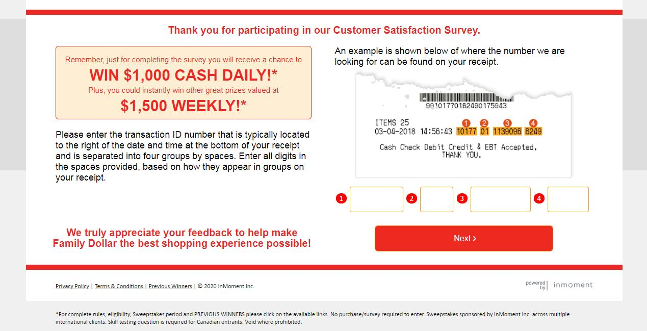 Family Dollar Guest Experience Survey