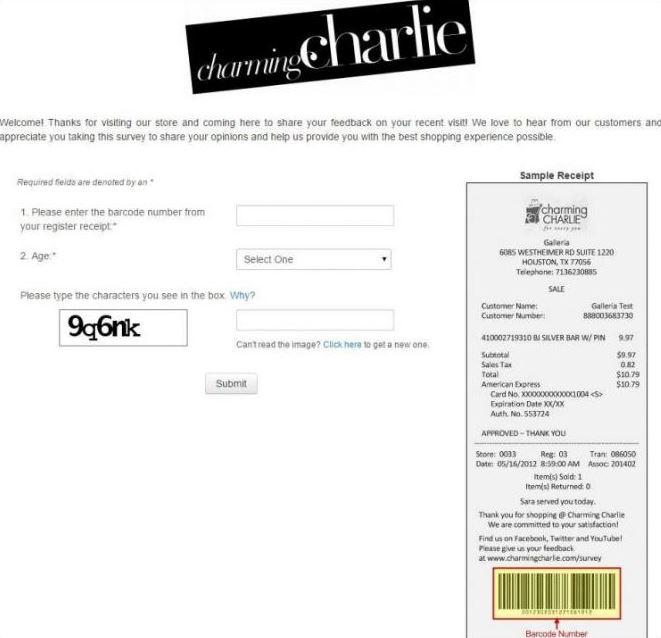 www.Charmingcharlie.com/Survey