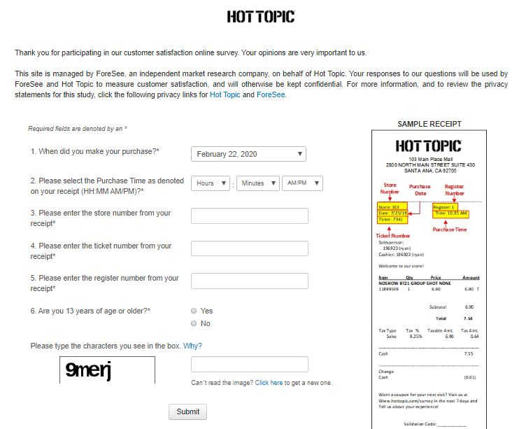 Hot Topic Survey