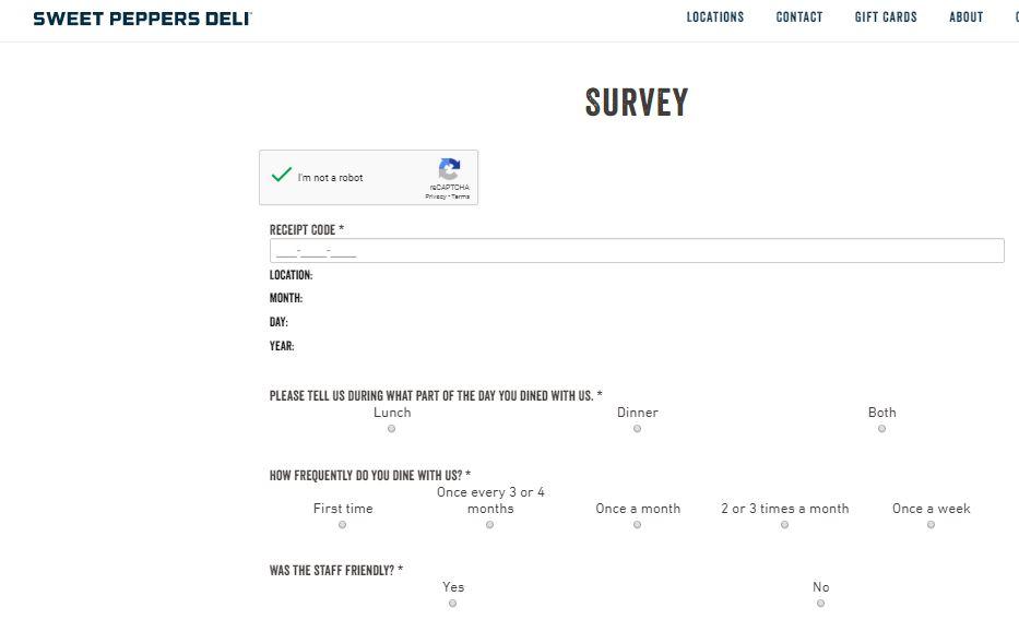 Sweet Peppers Deli Survey steps
