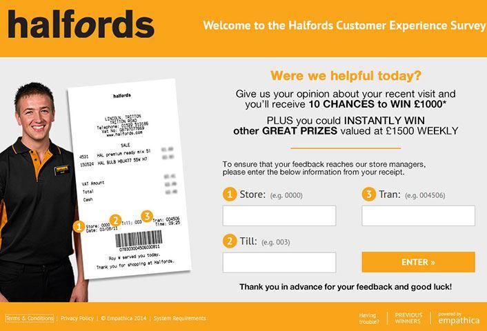 Halfords Feedback Survey