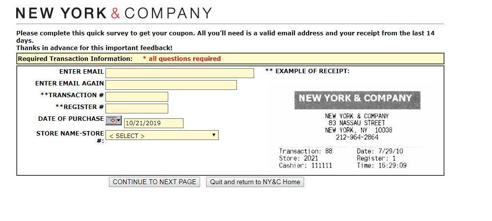 New York & Company Customer Survey