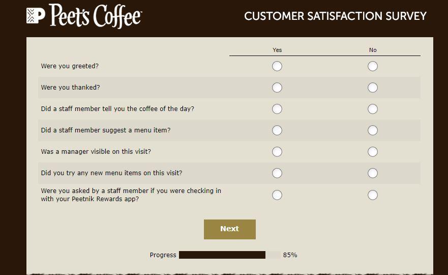 Peet's Customer Satisfaction Survey