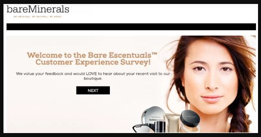 Bare Escentuals Customer Experience Survey step 1