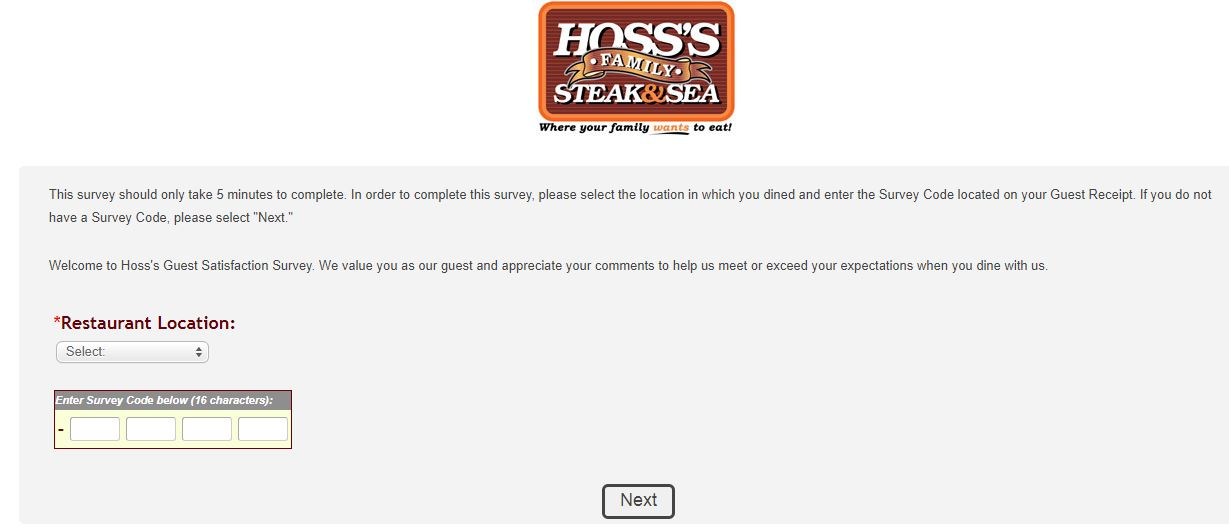 Hoss's Steak and Sea House Survey