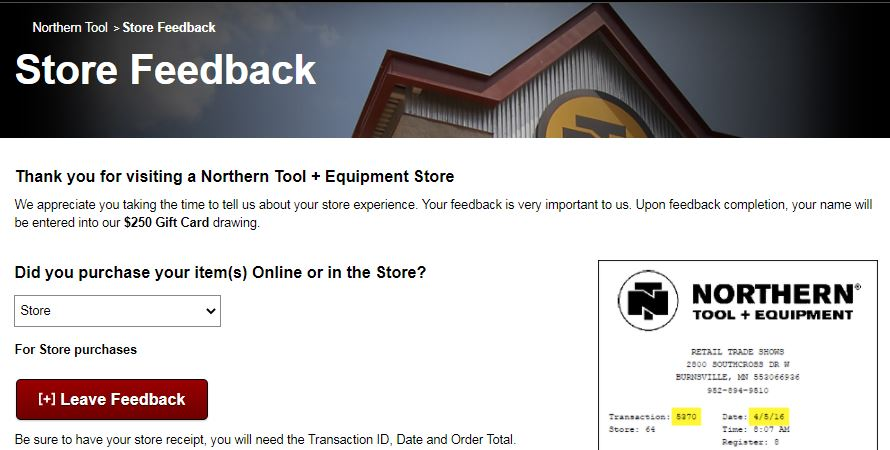www.NorthernTool.com/Survey