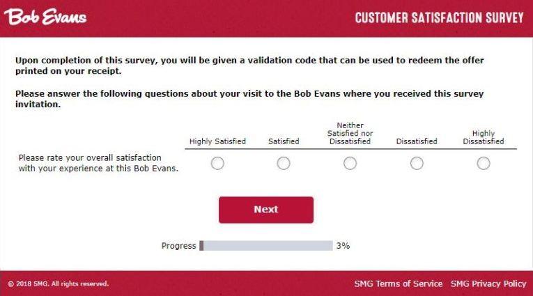 bob evans survey