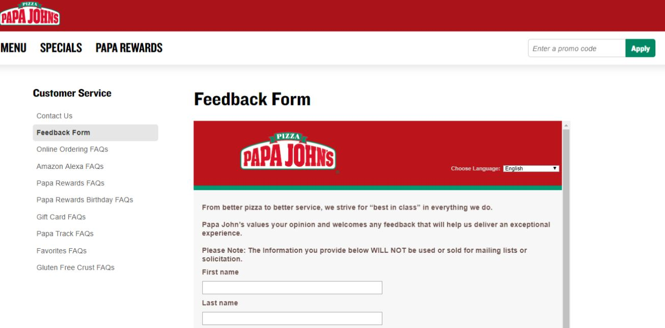papa johns survey