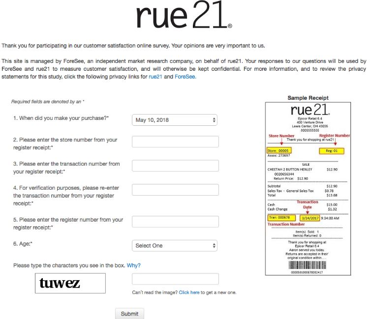 rue21 survey feedback