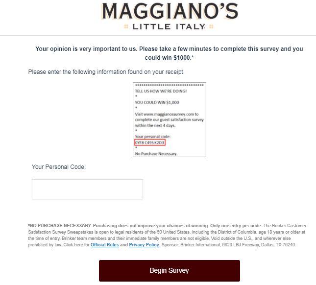 Maggiano's Survey