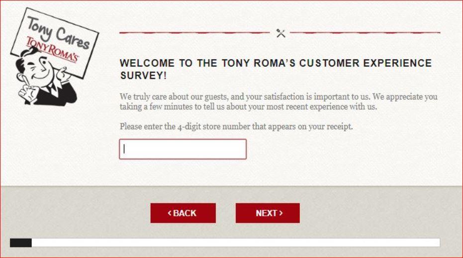 Tony Roma Guest Experience Survey