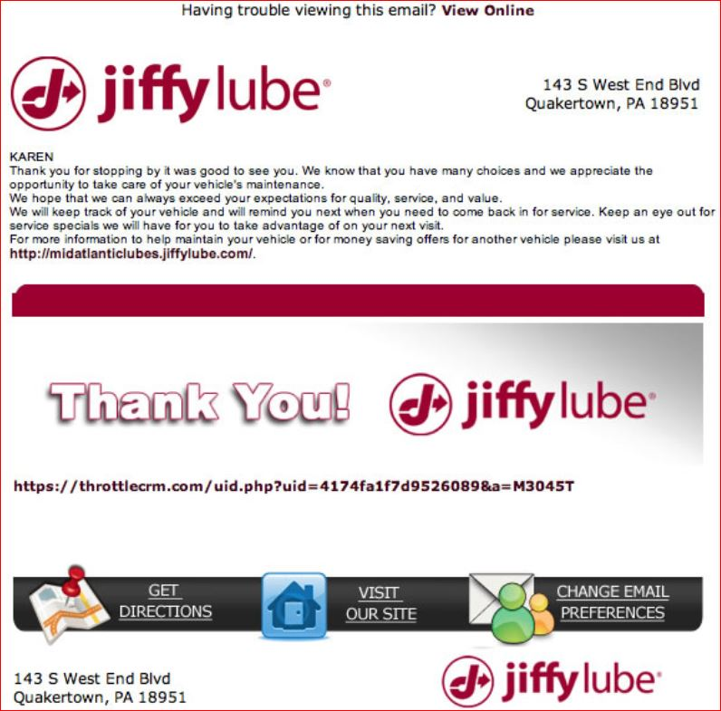 Jiffy Lube Survey