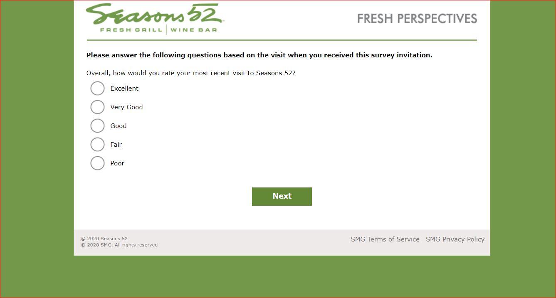 Seasons 52 Guest Survey