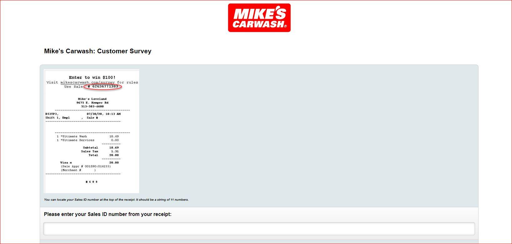 mikescarwash.com/survey