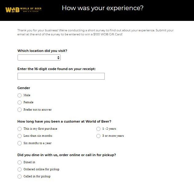 World of Beer Guest Experience Survey