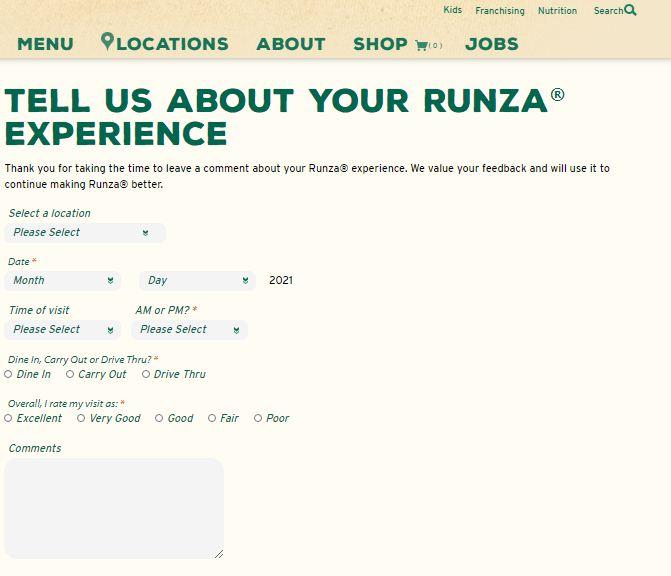 www.runza.comsurvey