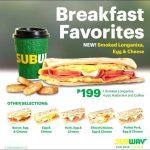Subway Breakfast Hours & Subway Breakfast Menu Prices